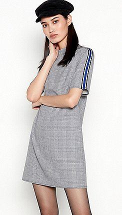 Red Herring - Black Check Side Stripe Mini Dress