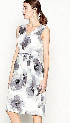 0e44589dade John Rocha - White floral print linen V-neck knee length shift dress