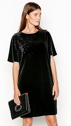 f8371b24af3 RJR.John Rocha - Black applique flower velvet knee length tunic dress