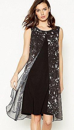 264e87800e28 John Rocha - Black Marble Print Split Front Knee Length Dress