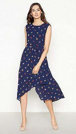 02430fa66f RJR.John Rocha - Navy Floral Print  Penny  High Low Shift Dress