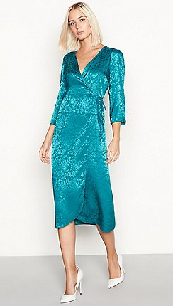 Red Herring Dark Turquoise Fl Jacquard Satin Midi Wrap Dress
