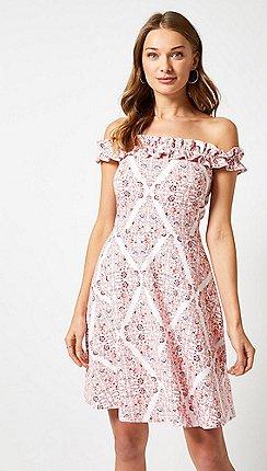 Dorothy Perkins - Pink Ruffle Bardot Scarf Print Dress e290fa8fa8f6