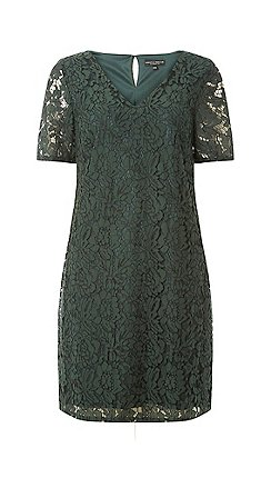 Dorothy Perkins Green Two Tone Lace Shift Dress