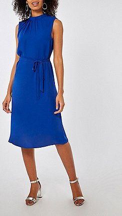 Dorothy Perkins - Cobalt blue high neck chiffon midi dress aac27f734f04