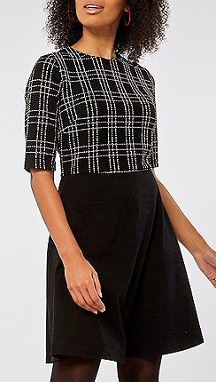 beb0859b0cf Dorothy Perkins - Black and white check 2-in-1 fit and flare dress