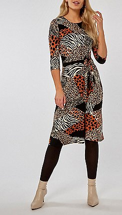 Dorothy Perkins - Black mix and match animal print skater dress