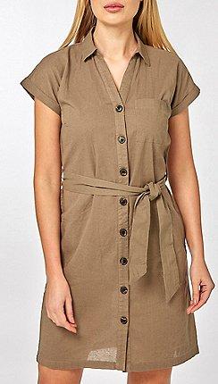 f7d7f7ef2d Dorothy Perkins - Khaki Linen Shirt Dress
