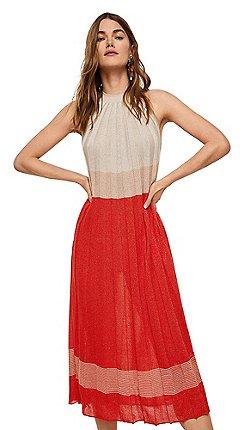 79c3eeafa41c Mango - Metallic pleated  Moiras  high neck midi dress