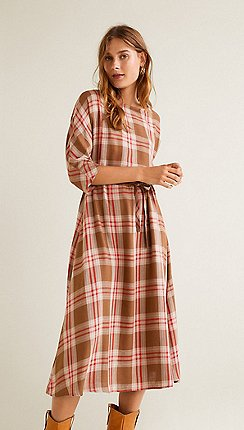 Mango - Red checked linen blend  Camila  midi dress fad662cac