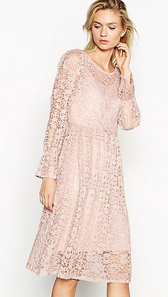 Vila - Pale pink lace  Jacyln  boat neck long sleeve knee length dress befa8fb5a1