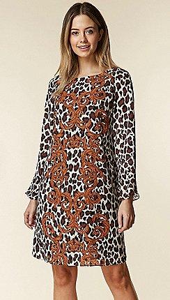Wallis - Petite brown leopard print swing dress 1802849b73