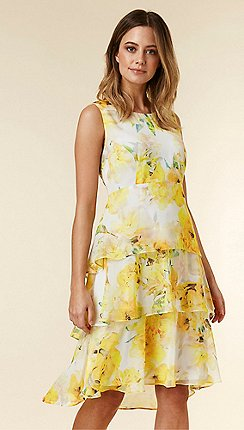fb3df6eaa82 Wallis - Petite Yellow Floral Print Tiered Fit and Flare Dress