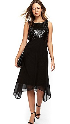 wallis petite black embellished asymmetric fit and flare dress