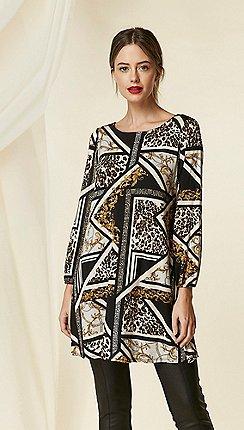 Wallis - Petite black animal print swing dress 3388d96e6f