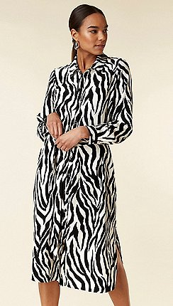 b63ae8890f Wallis Black zebra print shirt dress