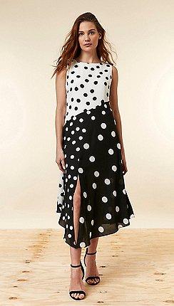 Wallis - Black Polka Dot Midi Skater Dress 807385dd25