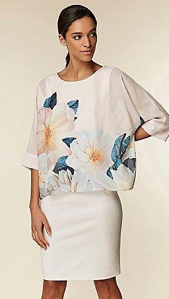 Wallis - Blush Floral Print Overlayer Dress