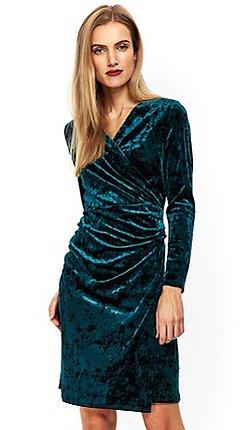 wallis forest green velvet wrap dress