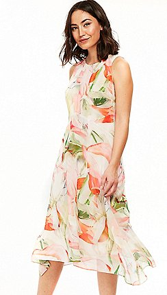 Wallis Blush Spring Fl Hanky Hem Dress
