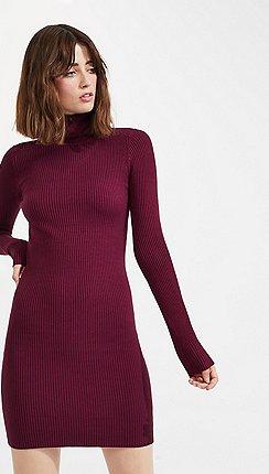 ec8fb73c82d Miss Selfridge - Burgundy roll neck ribbed jumper dress