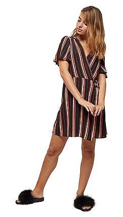 b366975686 Miss Selfridge - Petite black striped d-ring wrap dress