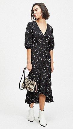 04412b50da Miss Selfridge - Petite black multi spot midi dress