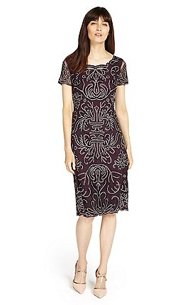 Phase Eight Fig Talia Embroidered Dress