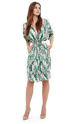 Phase Eight Green Georgia Fl Print Dress