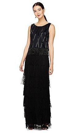 13eaaa0fefc Phase Eight - Black viola fringe embellished maxi dress