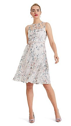 bfe12d7c7e9 Phase Eight - Cream Maddy fit and flare embroidered dress