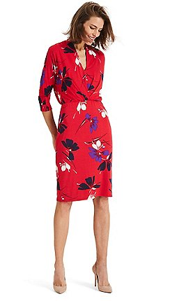 Phase Eight - Red harper floral pleat jersey dress 61455ea186d2