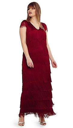 cd6beefecded5 Studio 8 - Size 14-26 Red esmerelda fringe maxi dress