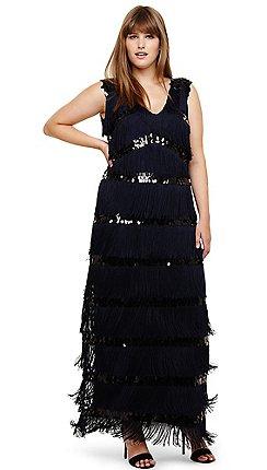 496ff5681981f Studio 8 - Sizes 14-26 Navy starlet fringe maxi dress