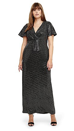299cb4a756ce9 Studio 8 - Sizes 14-26 Silver galaxy sparkle maxi dress