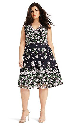 41f6c5eaae9 Studio 8 - Sizes 14 - 26 Navy Multi Stephanie Embroidered Dress