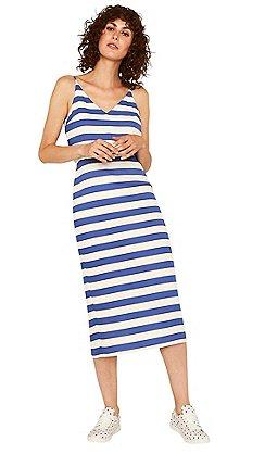 52db969694 Oasis - Multi blue stripe tie back column midi dress