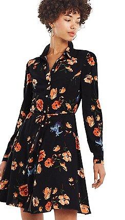 6d0c0c4a24c7 Oasis Multi black photographic skater shirt dress