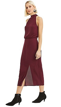 Oasis Berry 90s Halter Column Midi Dress