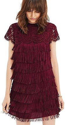 oasis burgundy lace and fringe shift dress - Christmas Party Dresses