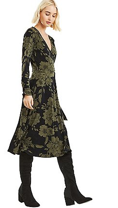 Oasis - Multi green bloom crepe wrap d ring dress 7ca086ffe5