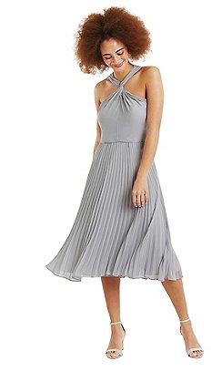 Oasis - Pale grey twist neck chiffon midi dress 0e206acce347
