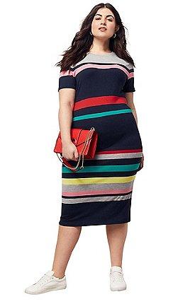 4113a36b85a Oasis - Multi Curve Rainbow Stripe Tube Dress
