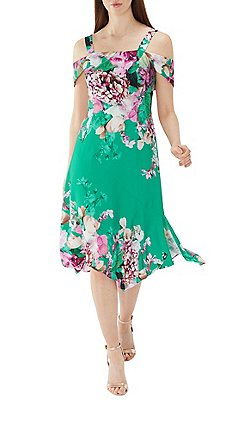 Coast Green Fl Print Erica Soft Shift Dress