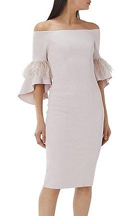 Coast Blush Pink Sa Feather Trim Shift Dress
