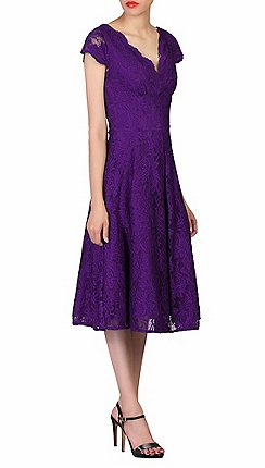 Jolie Moi Purple Cap Sleeves Fit Flare Lace Dress