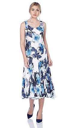 Roman Originals - Blue floral print bias dress e2f725e21
