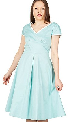 0d61b260fcad Jolie Moi - Light green trimmed v neck cap sleeve swing dress