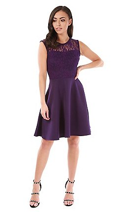 Be Jealous Purple Lace Insert Skater Dress