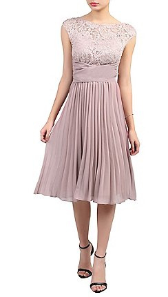 Jolie Moi Light Purple Lace Bodice Pleated Dress